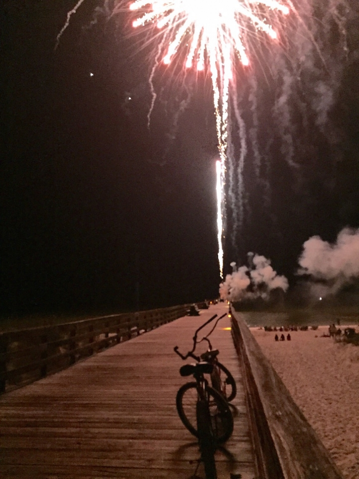 Fireworks over the MB pier – July 4, 2015. Photo by Michelle P. Childs