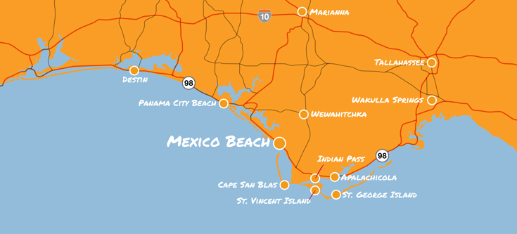 map of mexico beach florida and surrounding area