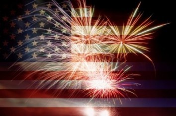 American flag with fireworks for July 4
