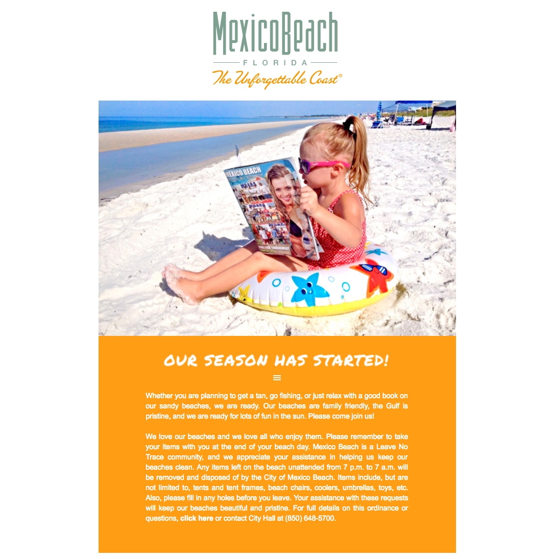 Mexico Beach, Florida - April 2017 Newsletter Feature