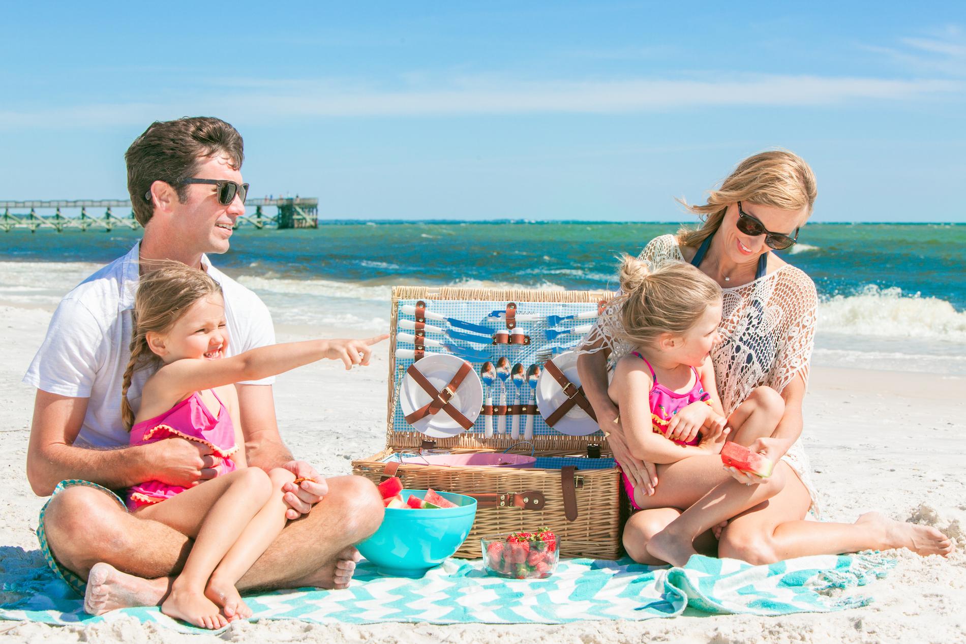 family picnic on the beach in mexico beach florida