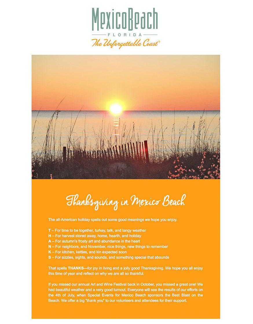 Mexico Beach, Florida - November 2017 Newsletter
