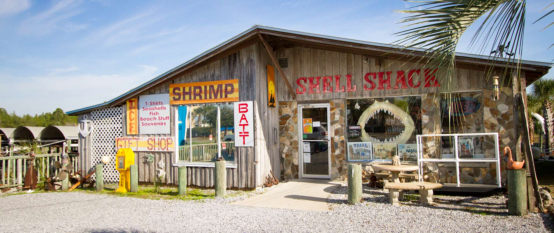 shell shack shop exterior located in mexico beach florida