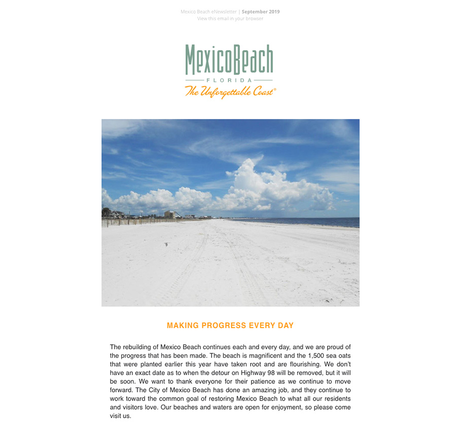 Mexico Beach Florida - August 2019 eNewsletter